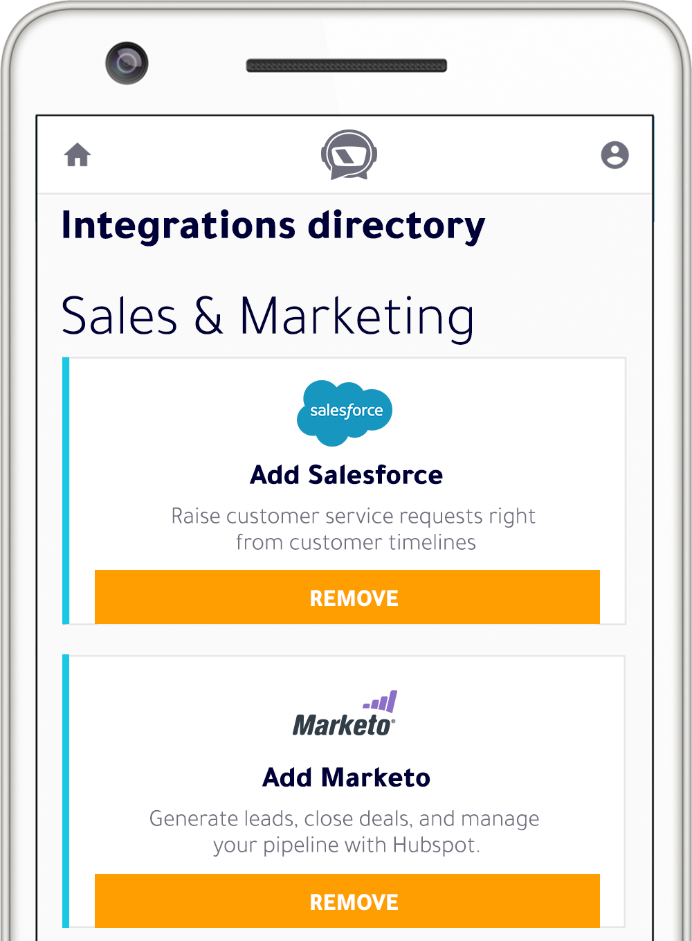 Sales and Marketing Integrations directory. Add Salesforce. Add Marketo.