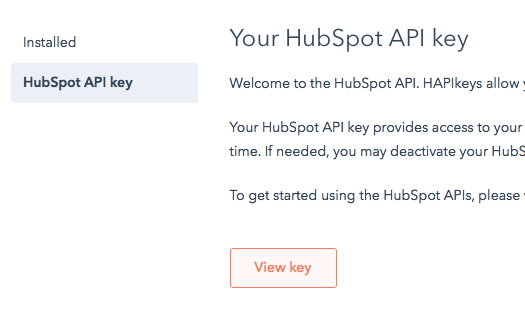 Copy your API Key : Hubspot: Add Voice, SMS, Chat, Video, and Email