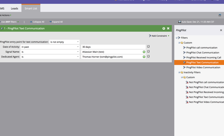 Confirm Constraints : Marketo: Reporting on PingPilot Activities